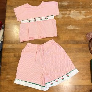 Vintage Pink/White Striped Summer 2 piece Outfit